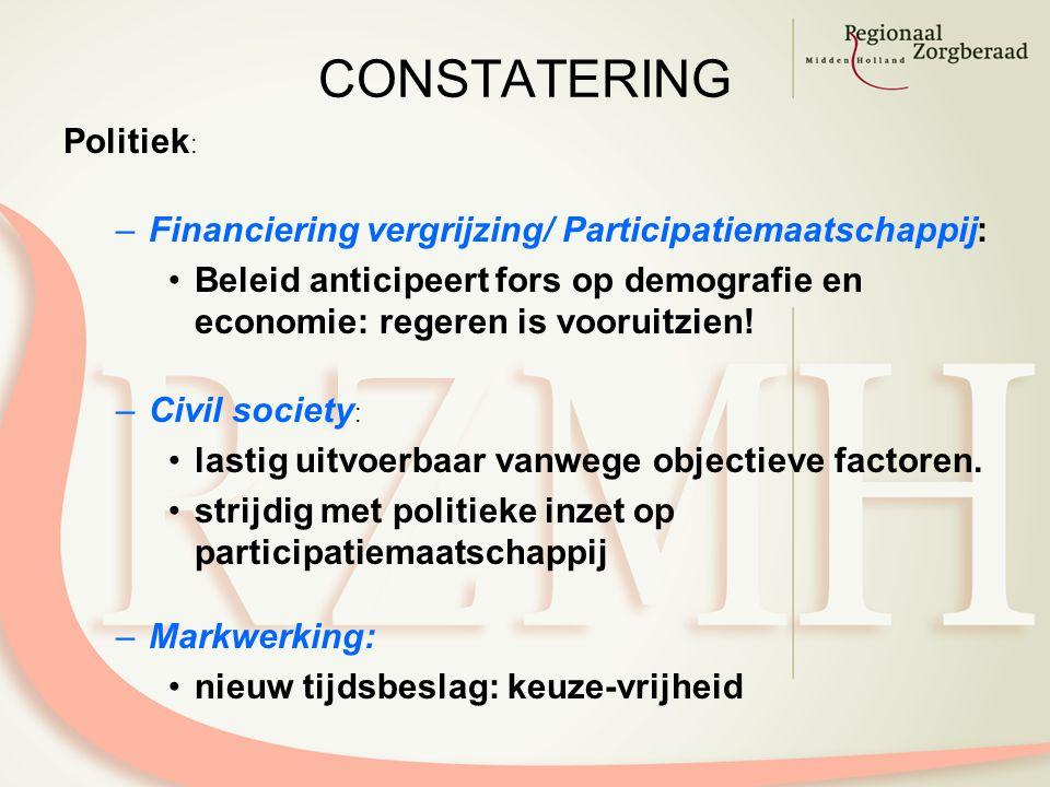 CONSTATERING Politiek : –Financiering vergrijzing/ Participatiemaatschappij: Beleid anticipeert fors op demografie en economie: regeren is vooruitzien.