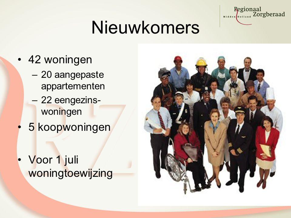 Nieuwkomers 42 woningen –20 aangepaste appartementen –22 eengezins- woningen 5 koopwoningen Voor 1 juli woningtoewijzing