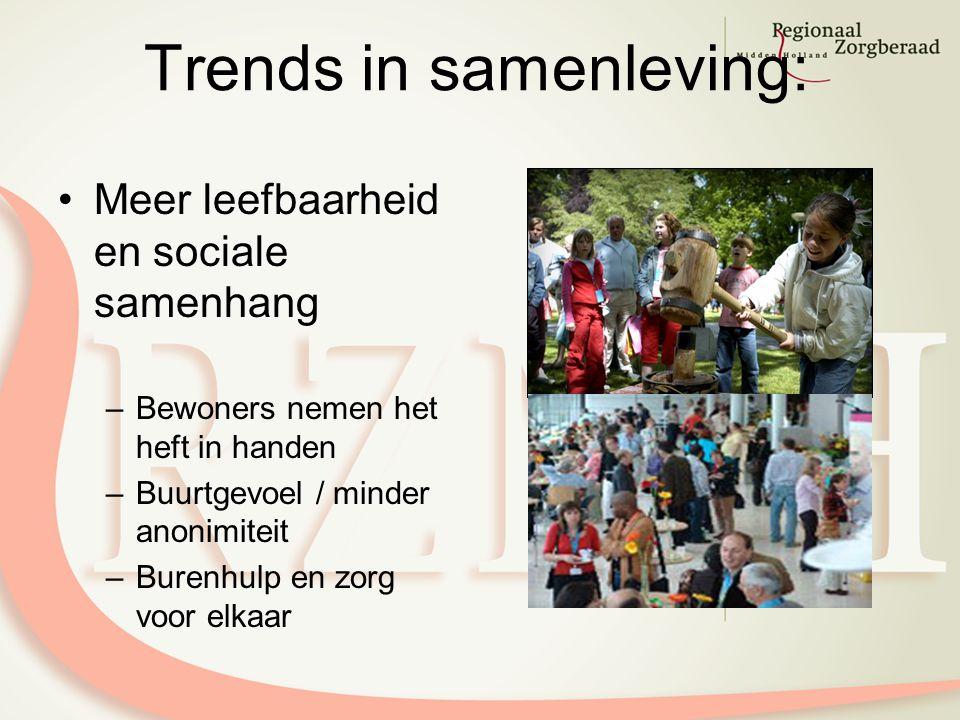 Trends in samenleving: Meer leefbaarheid en sociale samenhang –Bewoners nemen het heft in handen –Buurtgevoel / minder anonimiteit –Burenhulp en zorg voor elkaar