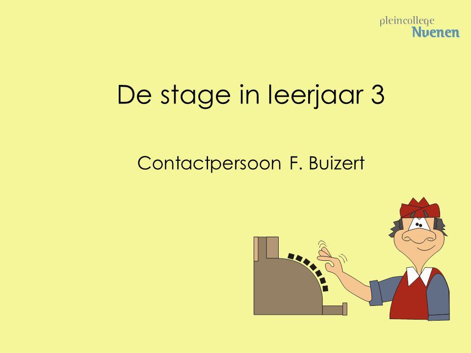 De stage in leerjaar 3 Contactpersoon F. Buizert