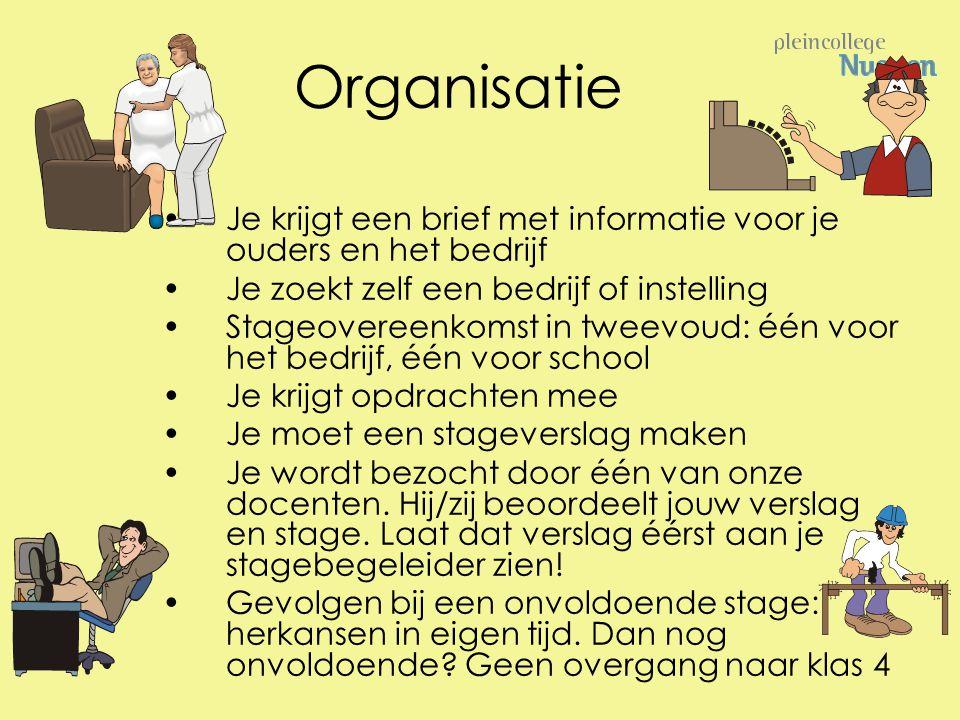 Organisatie Je krijgt een brief met informatie voor je ouders en het bedrijf Je zoekt zelf een bedrijf of instelling Stageovereenkomst in tweevoud: éé