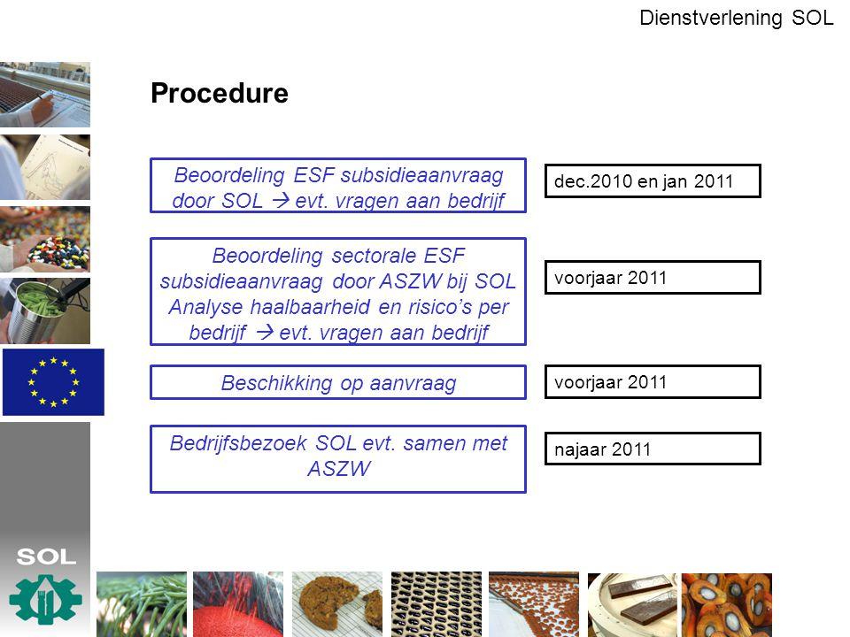 Procedure Dienstverlening SOL Beoordeling ESF subsidieaanvraag door SOL  evt. vragen aan bedrijf Beoordeling sectorale ESF subsidieaanvraag door ASZW
