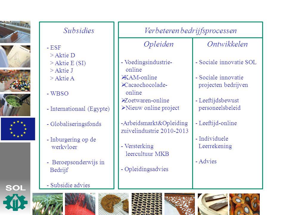 Verbeteren bedrijfsprocessen Subsidies - ESF > Aktie D > Aktie E (SI) > Aktie J > Aktie A - WBSO - Internationaal (Egypte) - Globaliseringsfonds - Inb