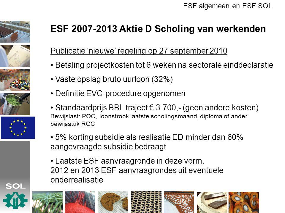ESF 2007-2013 Aktie D Scholing van werkenden Publicatie 'nieuwe' regeling op 27 september 2010 Betaling projectkosten tot 6 weken na sectorale einddec