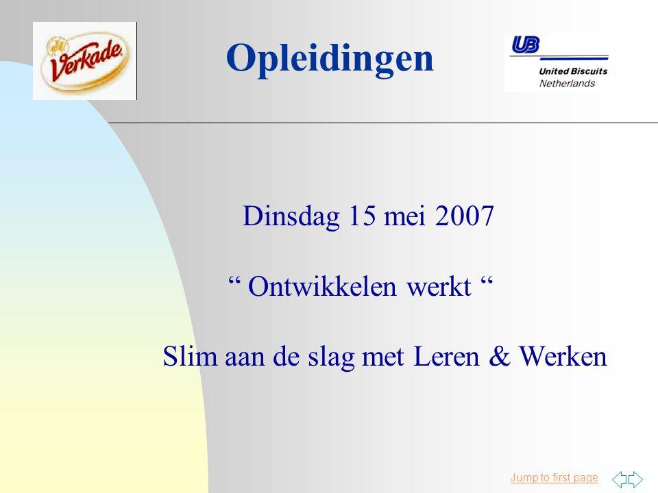 Jump to first page Opleidingen Dinsdag 15 mei 2007 Ontwikkelen werkt Slim aan de slag met Leren & Werken
