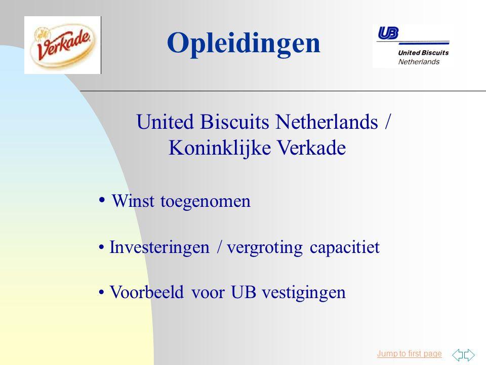 Jump to first page Opleidingen United Biscuits Netherlands / Koninklijke Verkade Winst toegenomen Investeringen / vergroting capacitiet Voorbeeld voor UB vestigingen