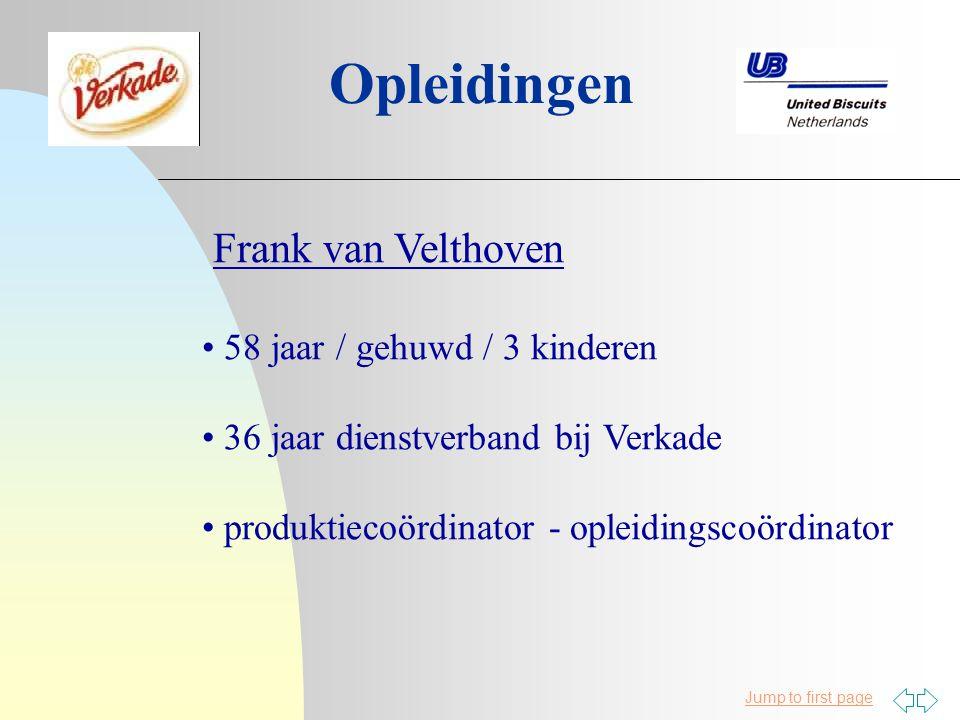 Jump to first page Opleidingen Frank van Velthoven 58 jaar / gehuwd / 3 kinderen 36 jaar dienstverband bij Verkade produktiecoördinator - opleidingscoördinator