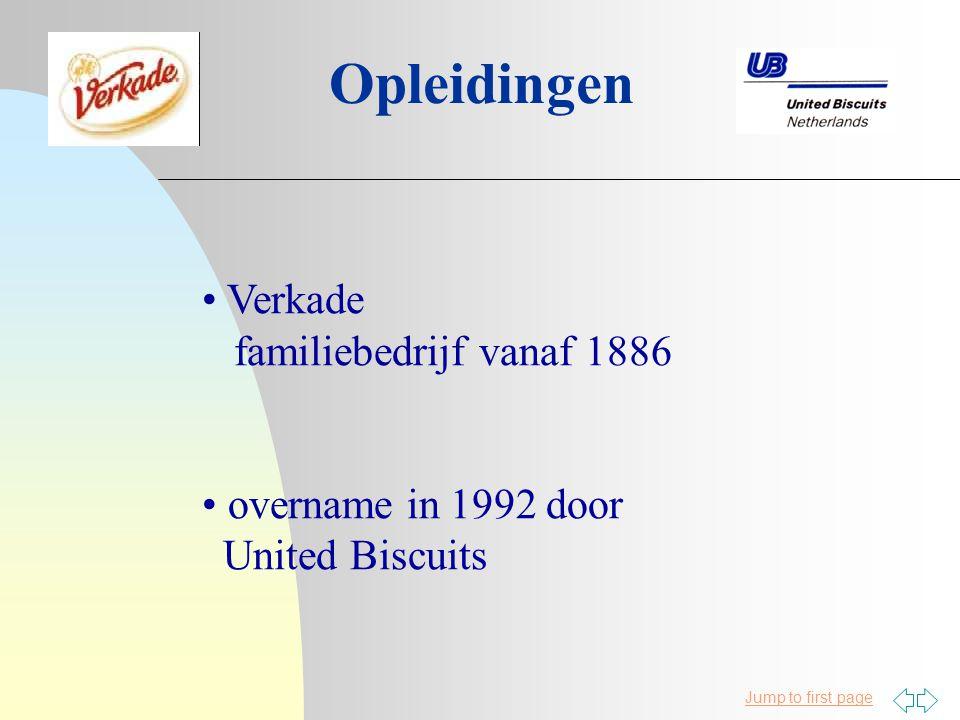 Jump to first page Opleidingen Verkade familiebedrijf vanaf 1886 overname in 1992 door United Biscuits