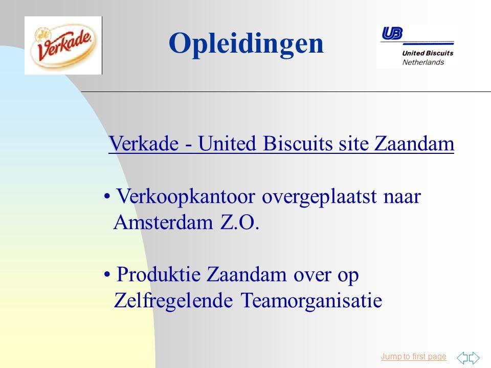 Jump to first page Opleidingen Verkade - United Biscuits site Zaandam Verkoopkantoor overgeplaatst naar Amsterdam Z.O.