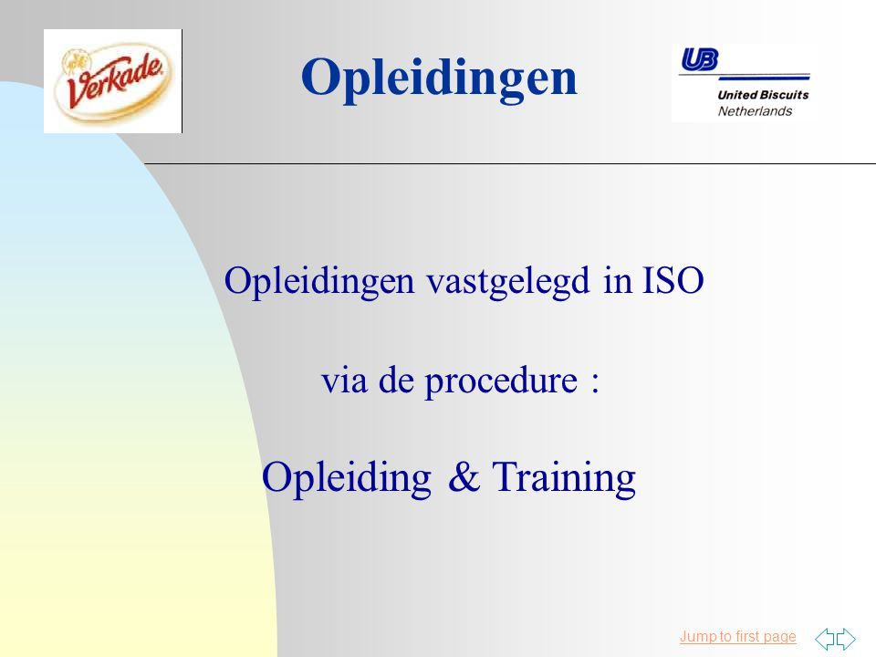 Jump to first page Opleidingen Opleidingen vastgelegd in ISO via de procedure : Opleiding & Training