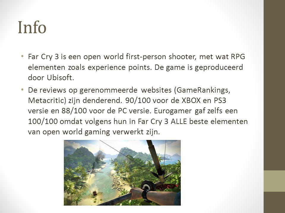 Info Far Cry 3 is een open world first-person shooter, met wat RPG elementen zoals experience points. De game is geproduceerd door Ubisoft. De reviews