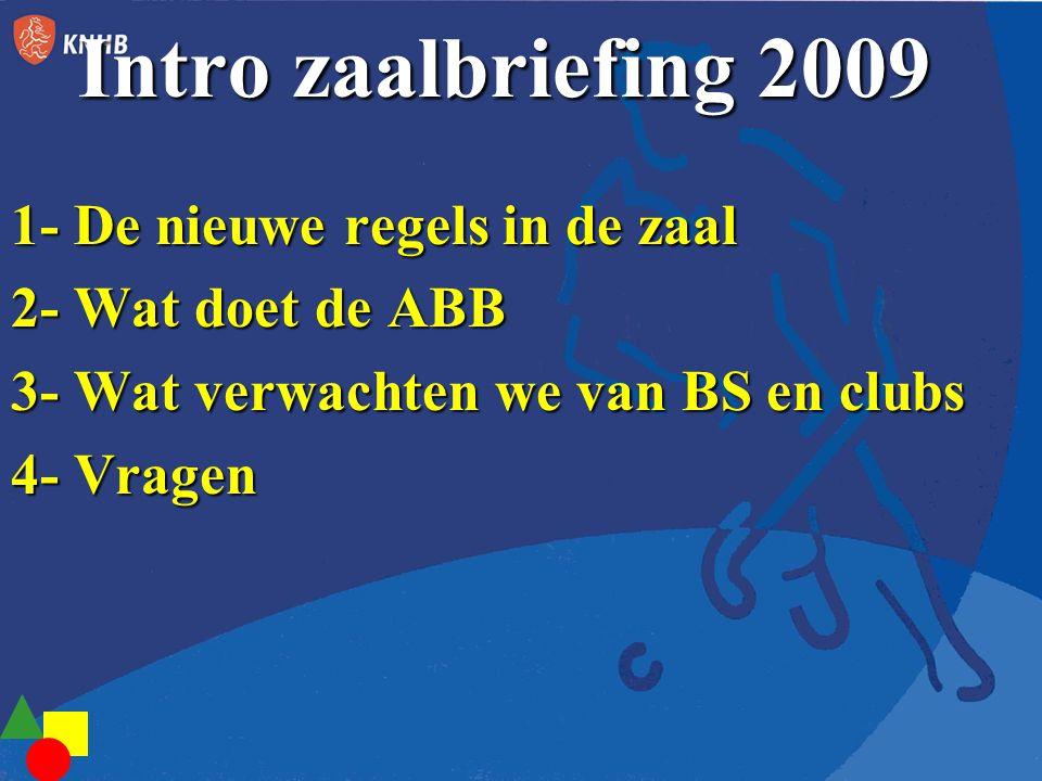 Intro zaalbriefing 2009 1- De nieuwe regels in de zaal 2- Wat doet de ABB 3- Wat verwachten we van BS en clubs 4- Vragen