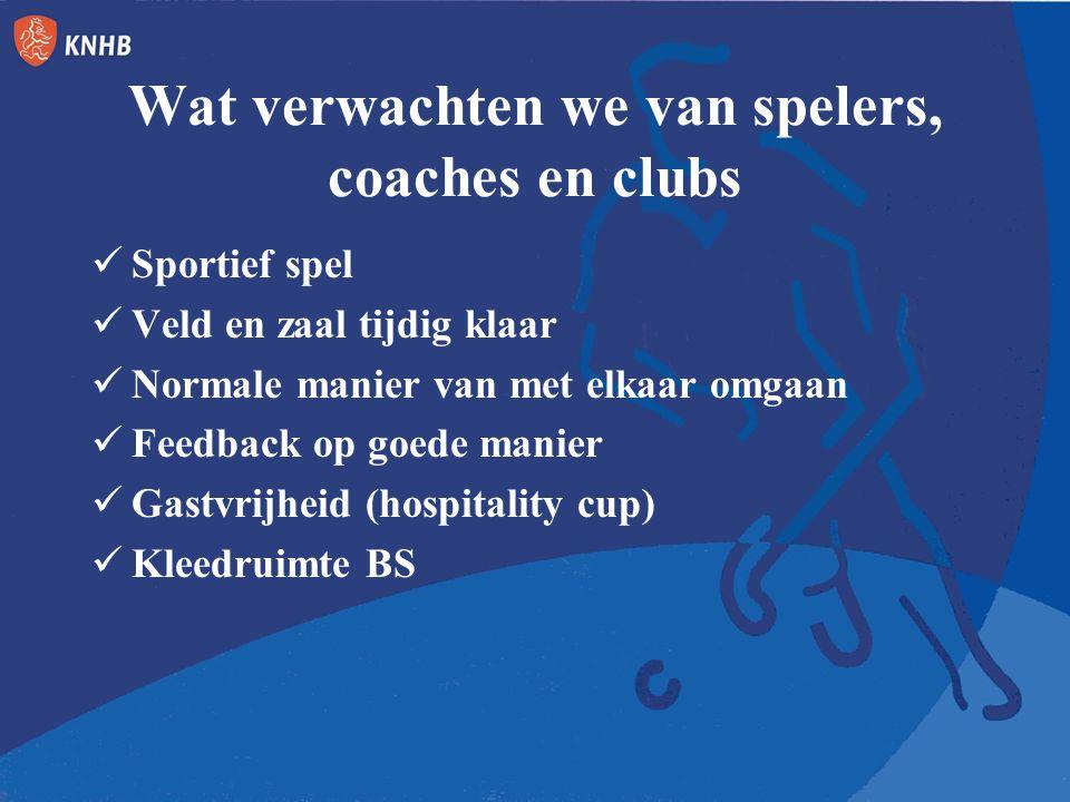 Wat verwachten we van spelers, coaches en clubs Sportief spel Veld en zaal tijdig klaar Normale manier van met elkaar omgaan Feedback op goede manier Gastvrijheid (hospitality cup) Kleedruimte BS