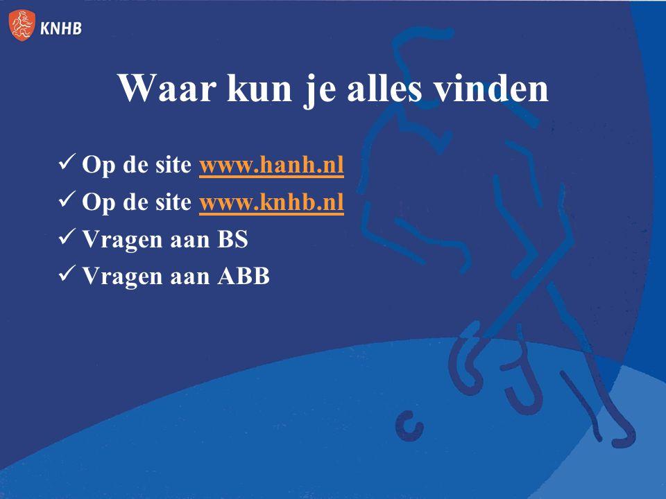 Waar kun je alles vinden Op de site www.hanh.nlwww.hanh.nl Op de site www.knhb.nlwww.knhb.nl Vragen aan BS Vragen aan ABB