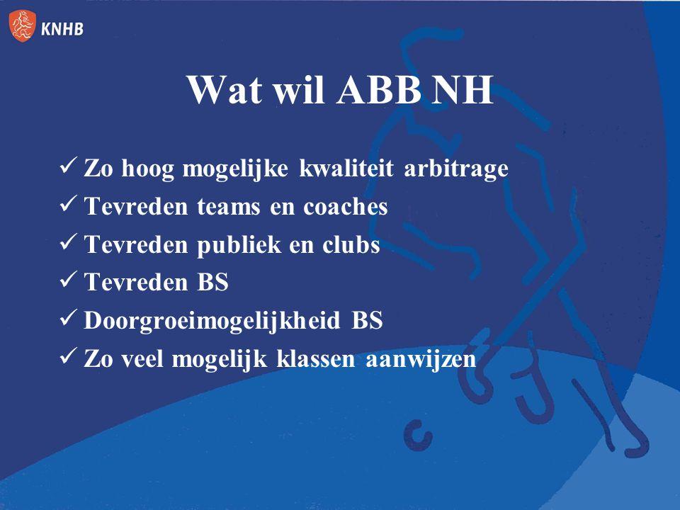 Wat wil ABB NH Zo hoog mogelijke kwaliteit arbitrage Tevreden teams en coaches Tevreden publiek en clubs Tevreden BS Doorgroeimogelijkheid BS Zo veel mogelijk klassen aanwijzen