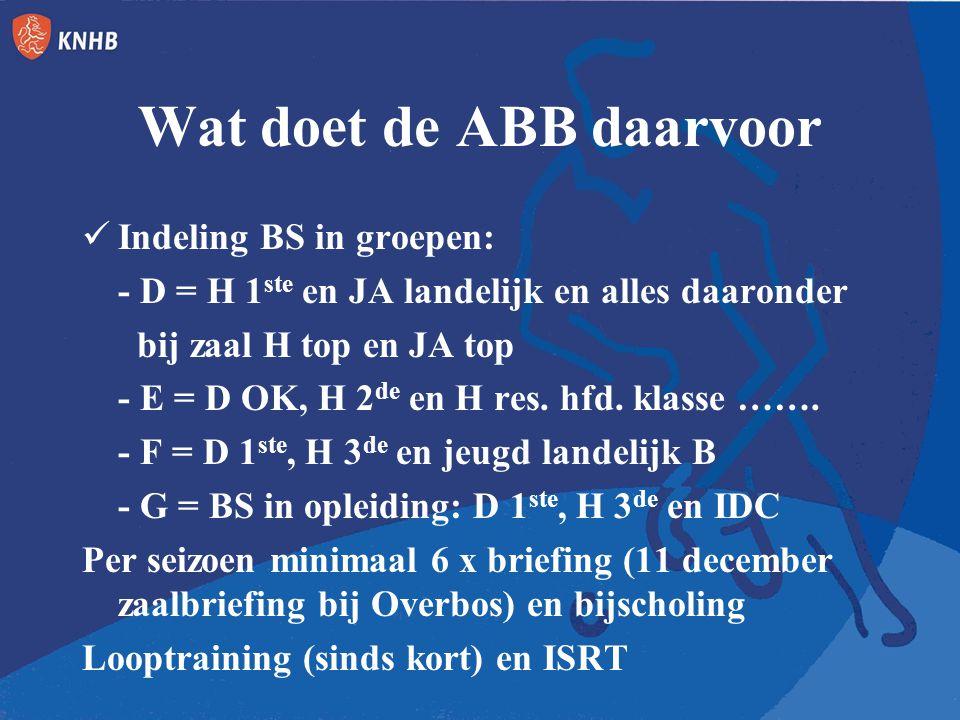 Wat doet de ABB daarvoor Indeling BS in groepen: - D = H 1 ste en JA landelijk en alles daaronder bij zaal H top en JA top - E = D OK, H 2 de en H res.