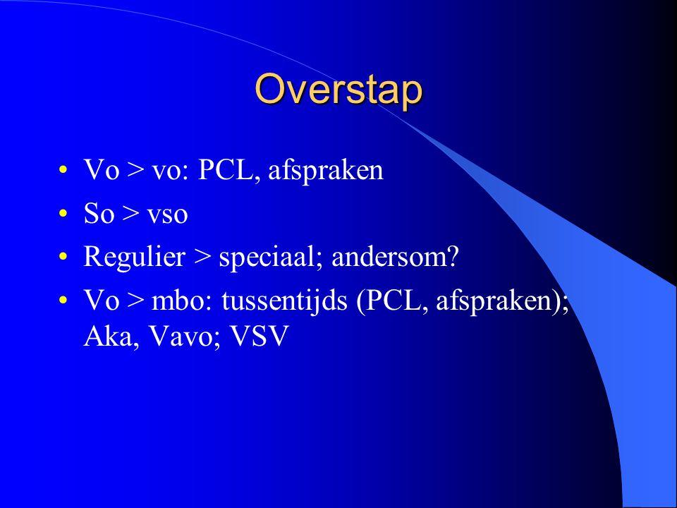 Overstap Vo > vo: PCL, afspraken So > vso Regulier > speciaal; andersom.