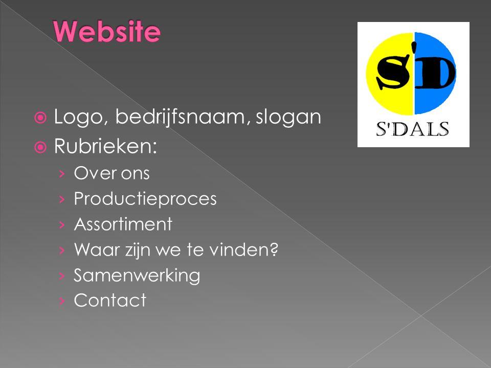  Logo, bedrijfsnaam, slogan  Rubrieken: › Over ons › Productieproces › Assortiment › Waar zijn we te vinden? › Samenwerking › Contact