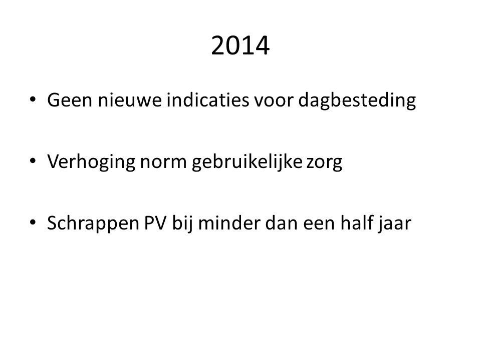 2014 Geen nieuwe indicaties voor dagbesteding Verhoging norm gebruikelijke zorg Schrappen PV bij minder dan een half jaar