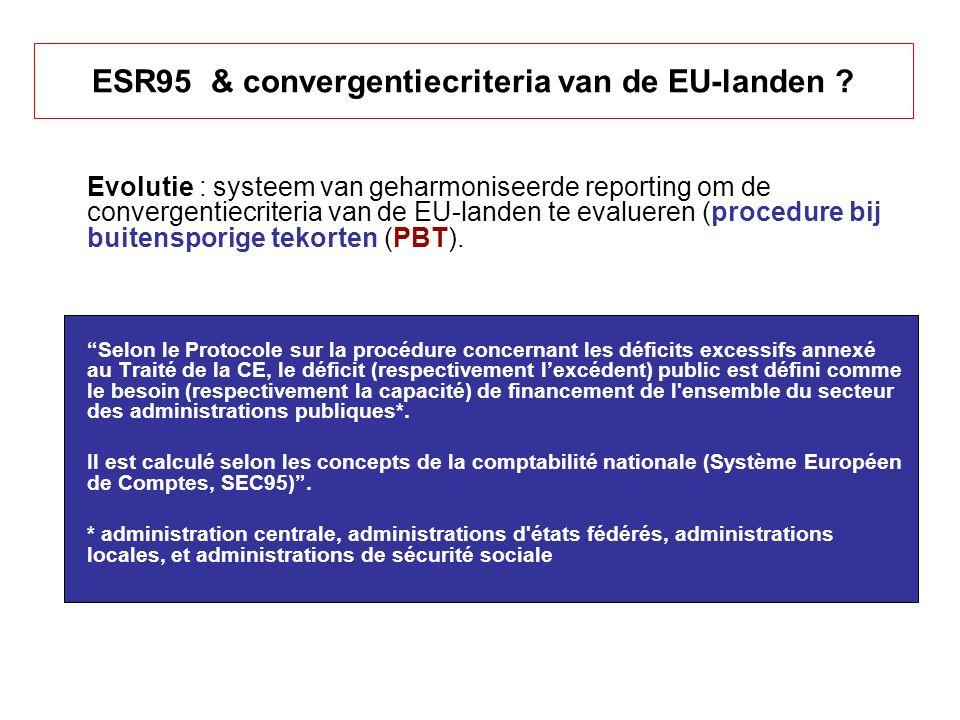 Criteria voor toetreding tot de EURO Aanpassing van ESR 95 in het kader van de Procedure bij buitensporige tekorten (PBT) Twee criteria voor de openbare financiën : –Tekort van de overheden (< 3 % BBP) –Schuld van de overheden (< 60 % BBP) Praktische problemen (in verschillende landen van EU) : –Verschillen in publieke boekhouding .