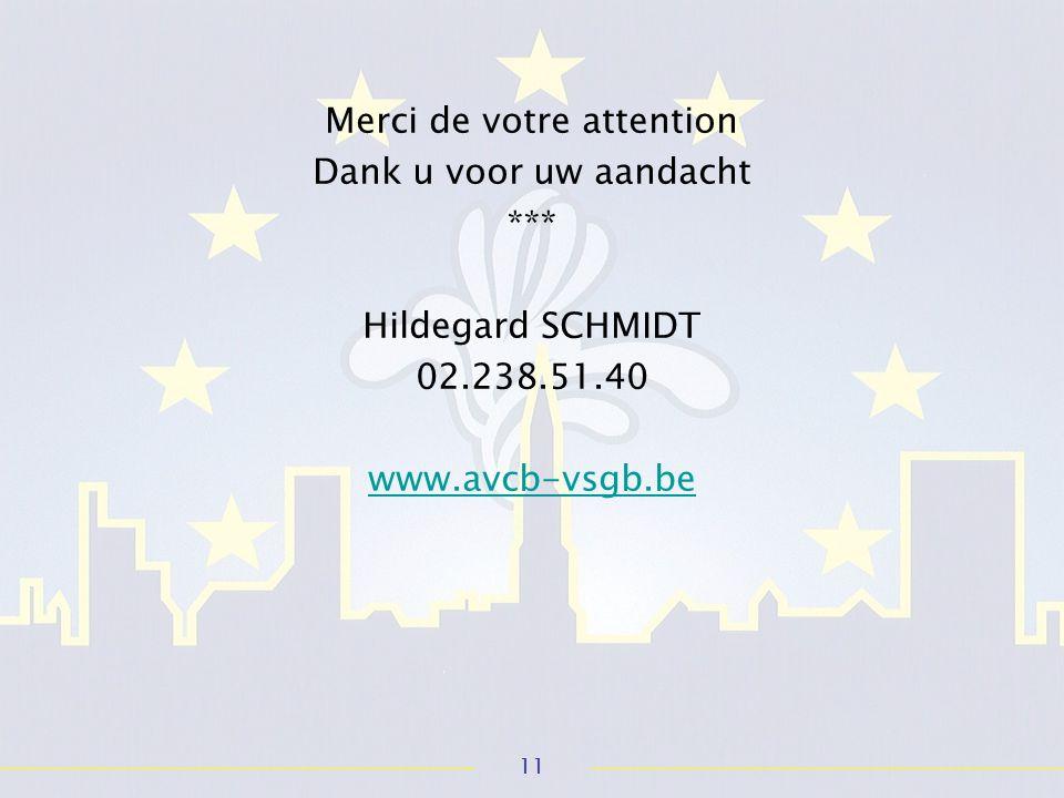 11 Merci de votre attention Dank u voor uw aandacht *** Hildegard SCHMIDT 02.238.51.40 www.avcb-vsgb.be