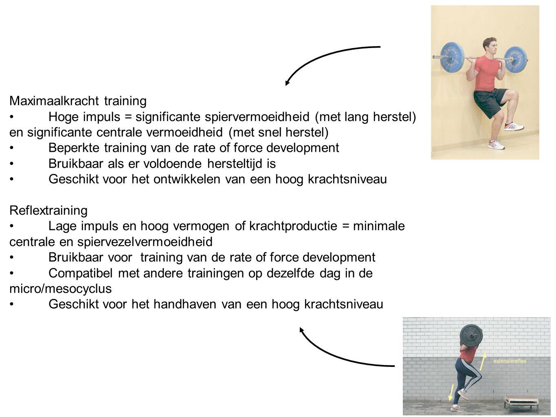 Maximaalkracht training Hoge impuls = significante spiervermoeidheid (met lang herstel) en significante centrale vermoeidheid (met snel herstel) Beper