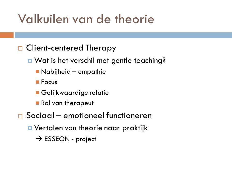 Valkuilen van de theorie  Client-centered Therapy  Wat is het verschil met gentle teaching? Nabijheid – empathie Focus Gelijkwaardige relatie Rol va