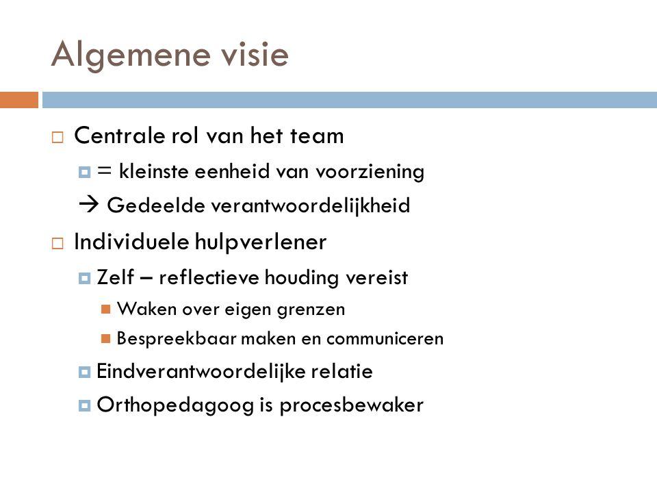 Algemene visie  Centrale rol van het team  = kleinste eenheid van voorziening  Gedeelde verantwoordelijkheid  Individuele hulpverlener  Zelf – re