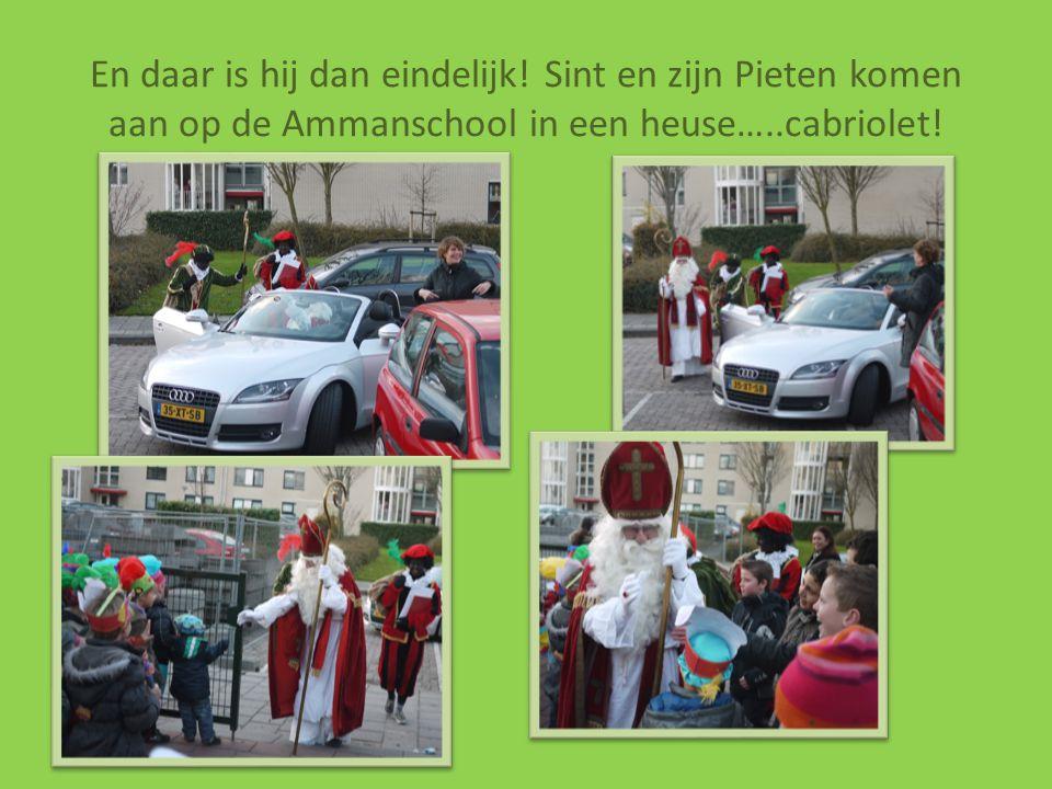 En daar is hij dan eindelijk! Sint en zijn Pieten komen aan op de Ammanschool in een heuse…..cabriolet!