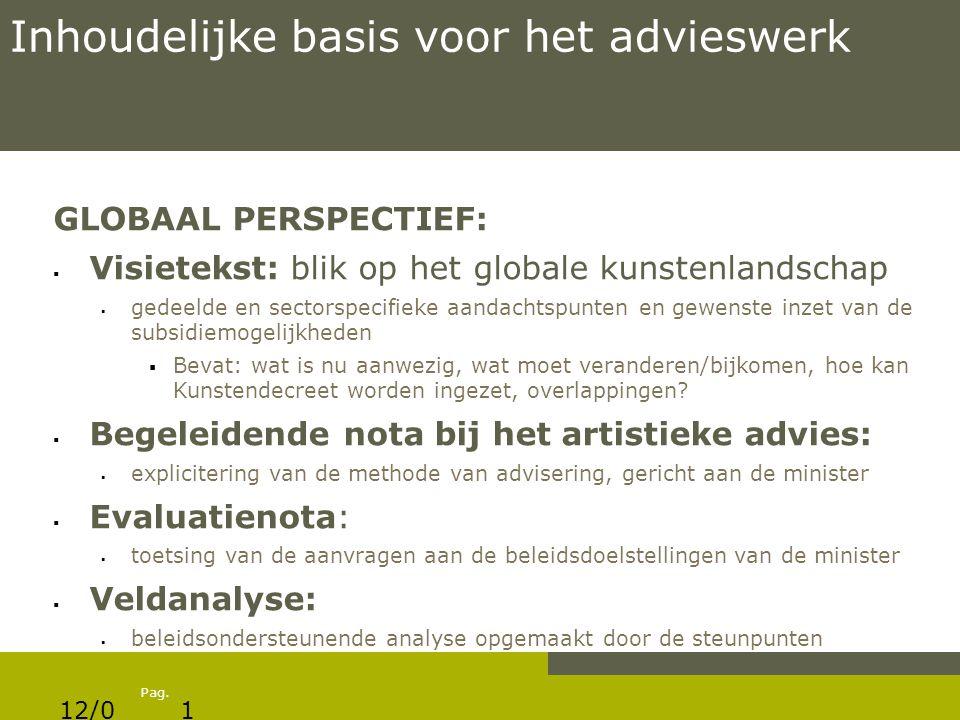 Pag. Inhoudelijke basis voor het advieswerk GLOBAAL PERSPECTIEF:  Visietekst: blik op het globale kunstenlandschap  gedeelde en sectorspecifieke aan