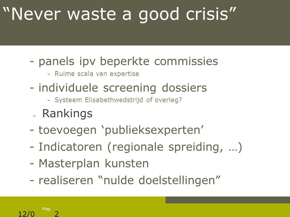 "Pag. ""Never waste a good crisis"" - panels ipv beperkte commissies  Ruime scala van expertise - individuele screening dossiers  Systeem Elisabethweds"