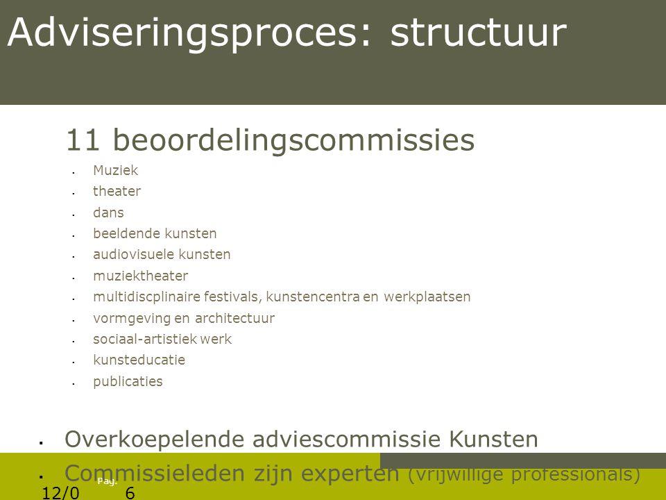 Pag. Adviseringsproces: structuur 11 beoordelingscommissies  Muziek  theater  dans  beeldende kunsten  audiovisuele kunsten  muziektheater  mul