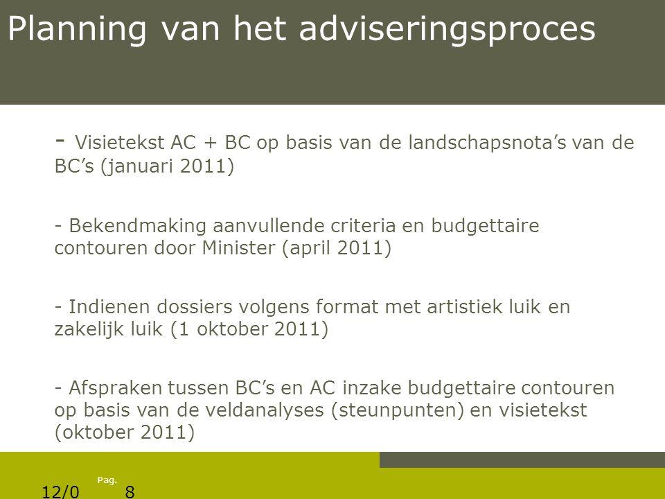 Pag. Planning van het adviseringsproces - Visietekst AC + BC op basis van de landschapsnota's van de BC's (januari 2011) - Bekendmaking aanvullende cr