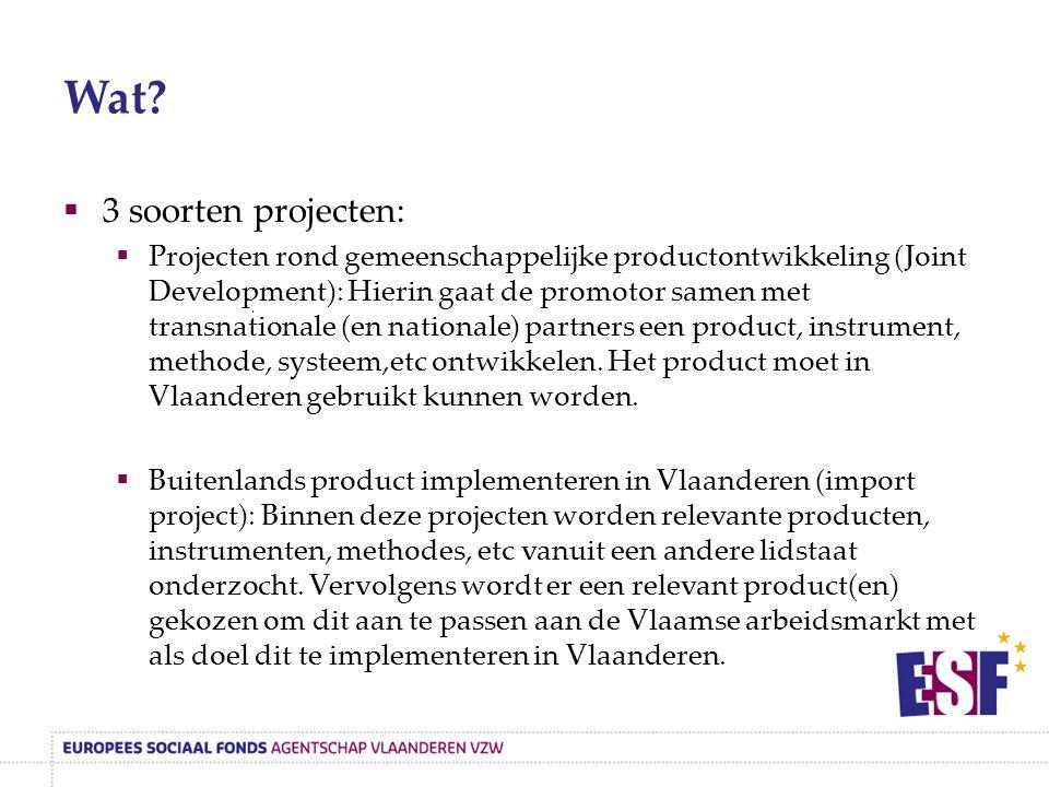 Wat?  3 soorten projecten:  Projecten rond gemeenschappelijke productontwikkeling (Joint Development): Hierin gaat de promotor samen met transnation