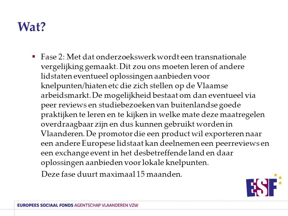 Wat.  Fase 2: Met dat onderzoekswerk wordt een transnationale vergelijking gemaakt.