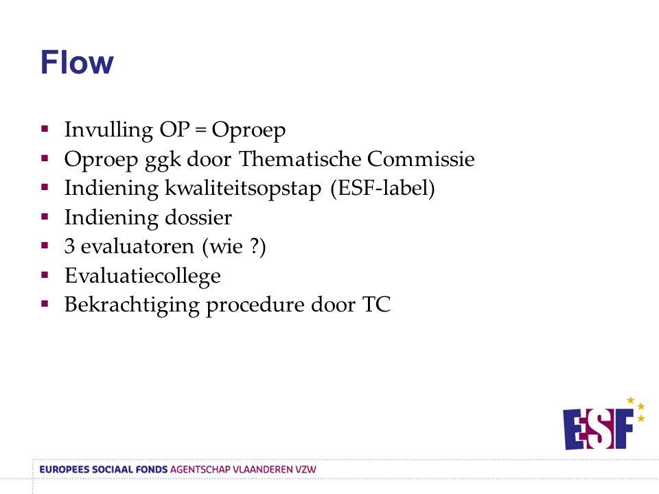 Flow  Invulling OP = Oproep  Oproep ggk door Thematische Commissie  Indiening kwaliteitsopstap (ESF-label)  Indiening dossier  3 evaluatoren (wie ?)  Evaluatiecollege  Bekrachtiging procedure door TC