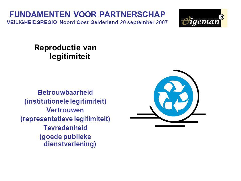 FUNDAMENTEN VOOR PARTNERSCHAP VEILIGHEIDSREGIO Noord Oost Gelderland 20 september 2007 Reproductie van legitimiteit Betrouwbaarheid (institutionele legitimiteit) Vertrouwen (representatieve legitimiteit) Tevredenheid (goede publieke dienstverlening)