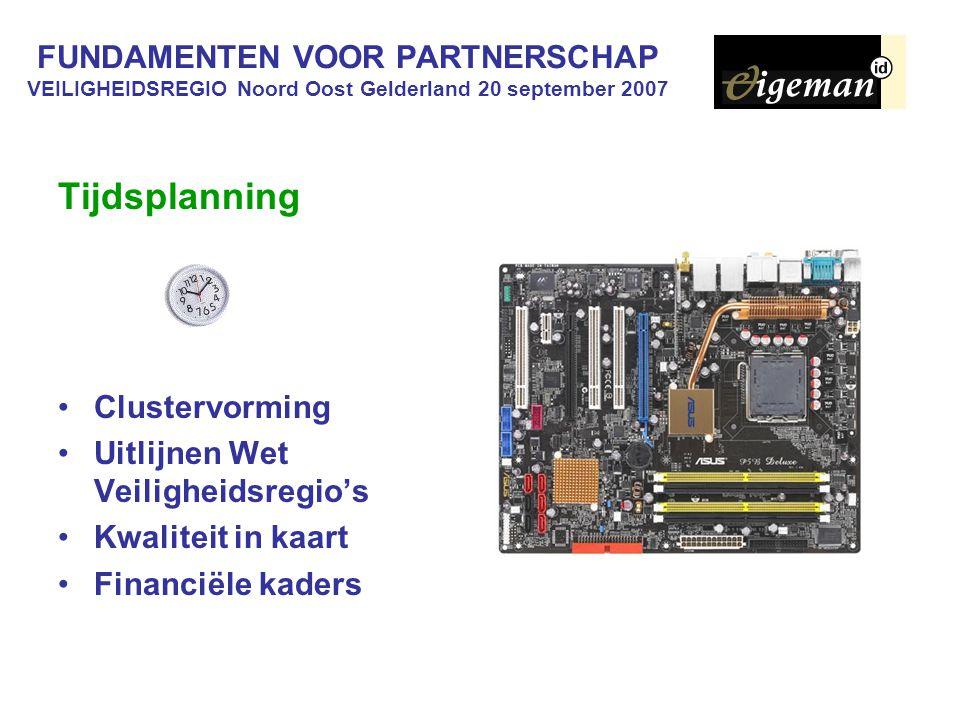 FUNDAMENTEN VOOR PARTNERSCHAP VEILIGHEIDSREGIO Noord Oost Gelderland 20 september 2007 Tijdsplanning Clustervorming Uitlijnen Wet Veiligheidsregio's Kwaliteit in kaart Financiële kaders