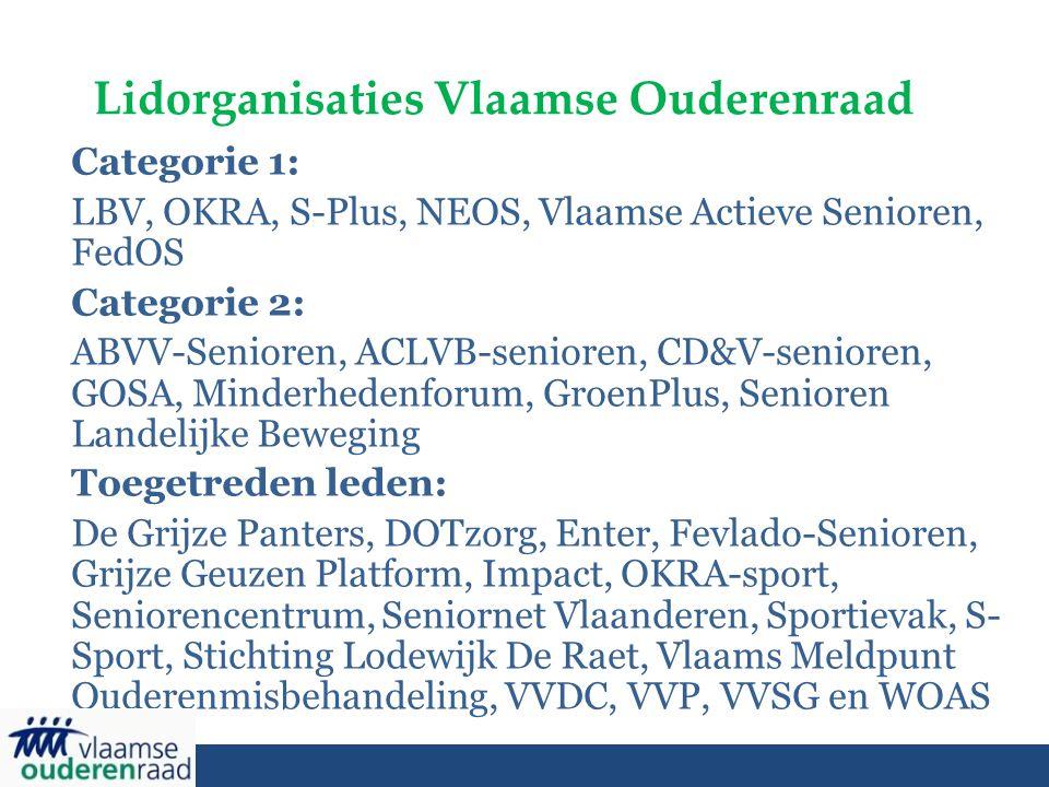 Lidorganisaties Vlaamse Ouderenraad Categorie 1: LBV, OKRA, S-Plus, NEOS, Vlaamse Actieve Senioren, FedOS Categorie 2: ABVV-Senioren, ACLVB-senioren, CD&V-senioren, GOSA, Minderhedenforum, GroenPlus, Senioren Landelijke Beweging Toegetreden leden: De Grijze Panters, DOTzorg, Enter, Fevlado-Senioren, Grijze Geuzen Platform, Impact, OKRA-sport, Seniorencentrum, Seniornet Vlaanderen, Sportievak, S- Sport, Stichting Lodewijk De Raet, Vlaams Meldpunt Ouderenmisbehandeling, VVDC, VVP, VVSG en WOAS