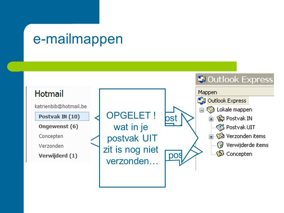 e-mailmappen Ontvangen post 'klad' berichten Verwijderde post verstuurde post OPGELET .