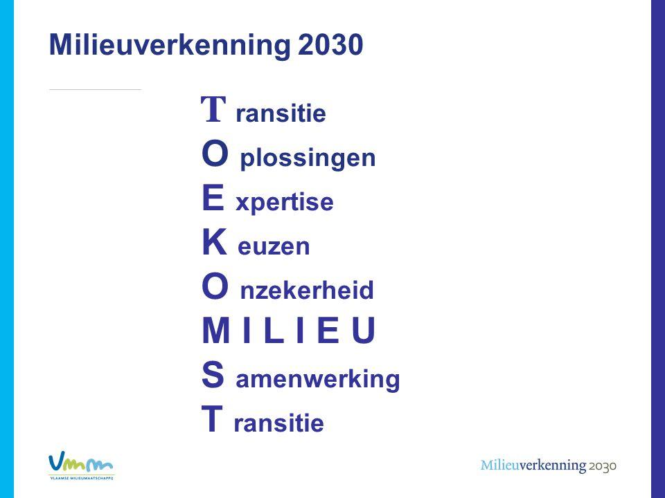 Milieuverkenning 2030 T ransitie O plossingen E xpertise K euzen O nzekerheid M I L I E U S amenwerking T ransitie