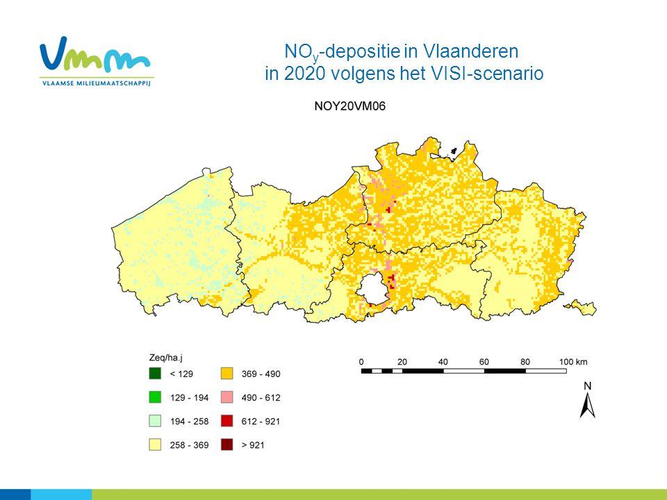 NO y -depositie in Vlaanderen in 2020 volgens het VISI-scenario