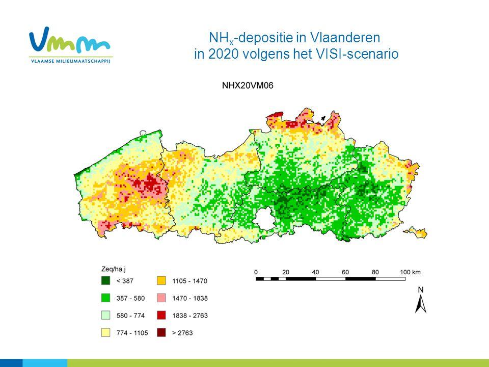 NH x -depositie in Vlaanderen in 2020 volgens het VISI-scenario