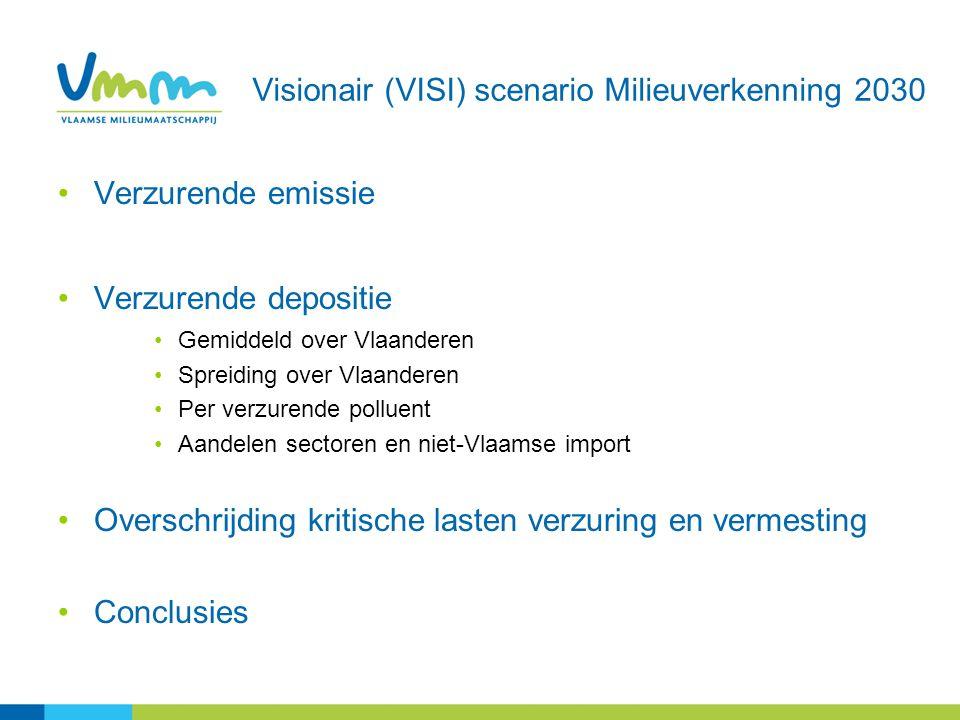 Visionair (VISI) scenario Milieuverkenning 2030 Verzurende emissie Verzurende depositie Gemiddeld over Vlaanderen Spreiding over Vlaanderen Per verzur