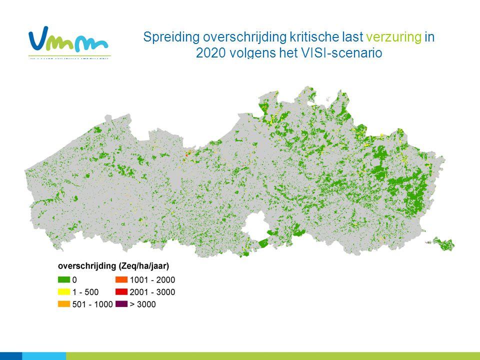 Spreiding overschrijding kritische last verzuring in 2020 volgens het VISI-scenario