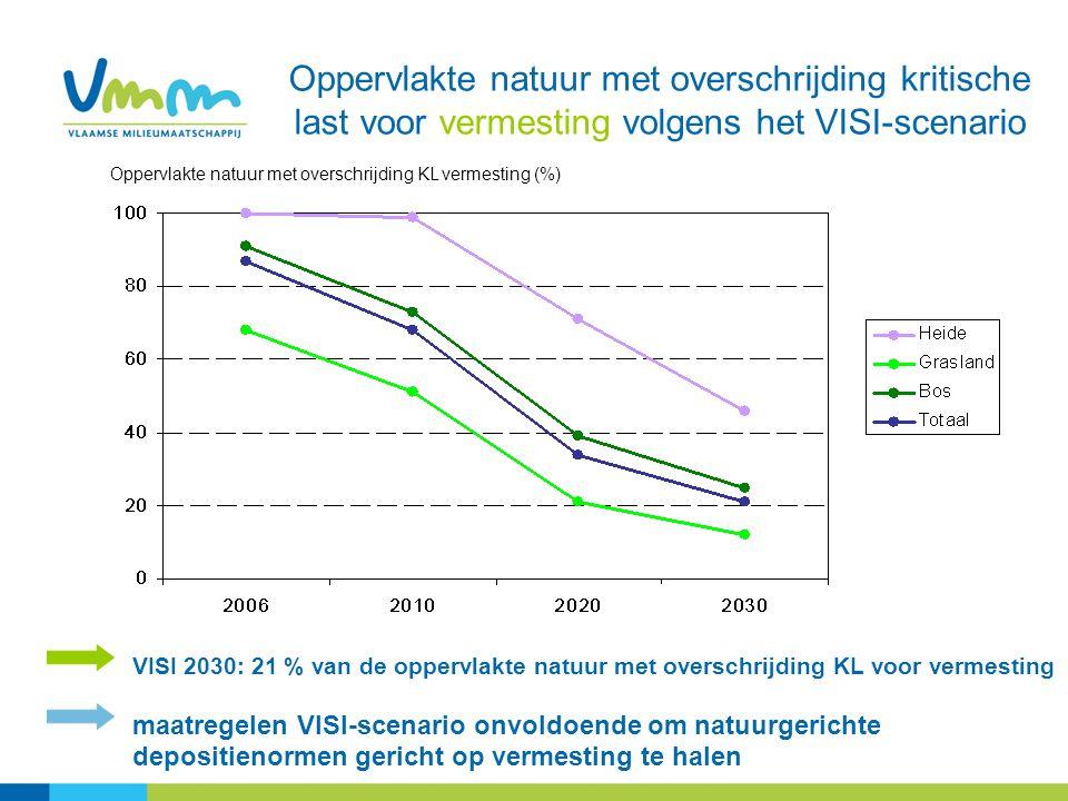 Oppervlakte natuur met overschrijding kritische last voor vermesting volgens het VISI-scenario VISI 2030: 21 % van de oppervlakte natuur met overschri