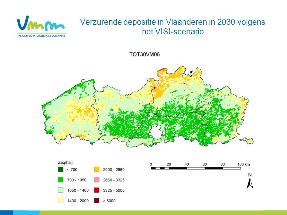 Verzurende depositie in Vlaanderen in 2030 volgens het VISI-scenario