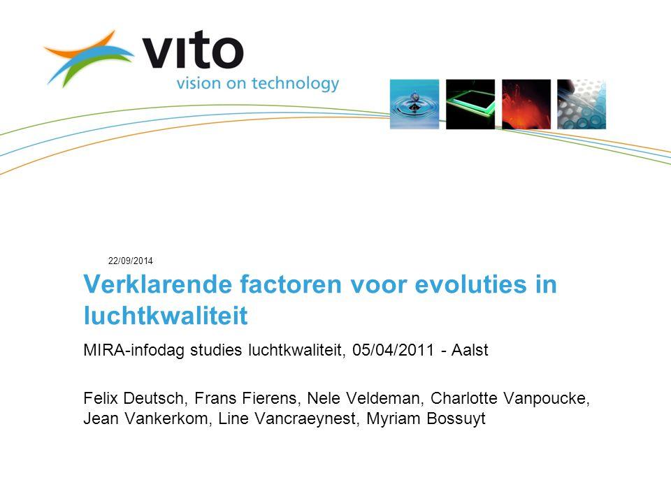 22/09/201432 Vertrouwelijk – © 2009, VITO NV – Alle rechten voorbehouden Analyse van polluentbijdragen van de Vlaamse emissies aan de PM10-concentraties in Vlaanderen (REF2007, EUR2020) REF2007 -> EUR2020: Afbouw van overschot van NOx heeft grotere gevoeligheid bij emissiedaling tot gevolg.