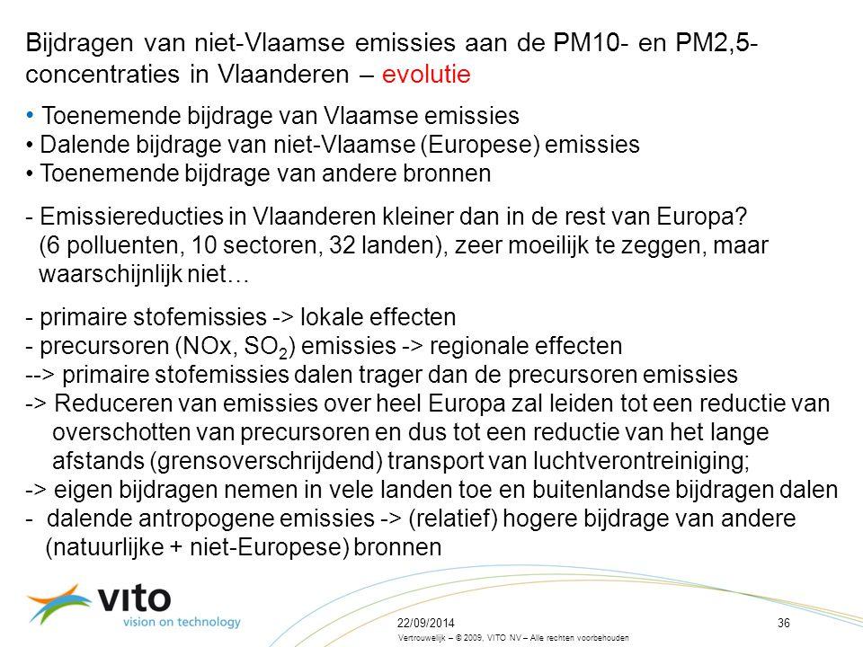 22/09/201436 Vertrouwelijk – © 2009, VITO NV – Alle rechten voorbehouden Bijdragen van niet-Vlaamse emissies aan de PM10- en PM2,5- concentraties in Vlaanderen – evolutie Toenemende bijdrage van Vlaamse emissies Dalende bijdrage van niet-Vlaamse (Europese) emissies Toenemende bijdrage van andere bronnen - Emissiereducties in Vlaanderen kleiner dan in de rest van Europa.