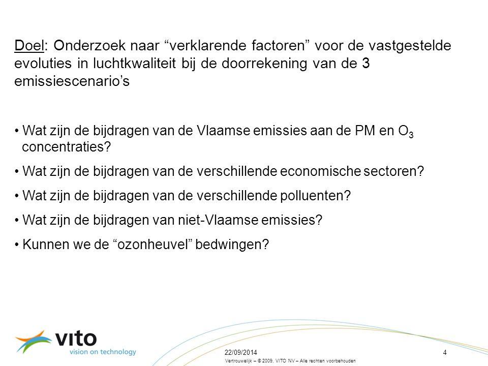 22/09/20144 Vertrouwelijk – © 2009, VITO NV – Alle rechten voorbehouden Doel: Onderzoek naar verklarende factoren voor de vastgestelde evoluties in luchtkwaliteit bij de doorrekening van de 3 emissiescenario's Wat zijn de bijdragen van de Vlaamse emissies aan de PM en O 3 concentraties.